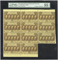 Fractional Currency:First Issue, Fr. 1280 Milton 1R25.2 25¢ First Issue Block of Eleven PMG 55EPQ....