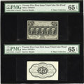 Fractional Currency:First Issue, Milton 1DP25F.1 and 1DP25R.1 25¢ First Issue Trial-Color Die ProofPMG Gem Uncirculated 65 EPQ....