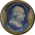 Encased Postage: , HB-3 EP-2 Scott-2 Reed-AC01SA 1¢ Ayer's Cathartic Pills ShortArrows Choice About Uncirculated.. Numerical grade: 95case.85sta...