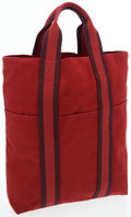 Luxury Accessories:Bags, Hermes Red and Burgundy Canvas Kabasu Tote Bag. ...