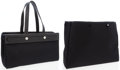 Luxury Accessories:Bags, Hermes Black Leather & Black Canvas Herbag Cabas MM Tote Bag....
