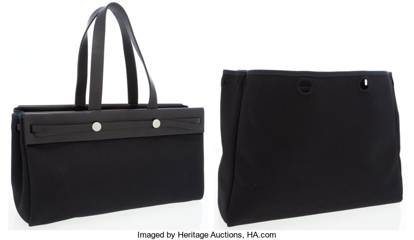 cc7467b0e ... Luxury Accessories:Bags, Hermes Black Leather & Black Canvas Herbag  Cabas MM Tote ...