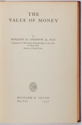 Books:Business & Economics, Benjamin M. Anderson, Jr. SIGNED. The Value of Money.Richard R. Smith, 1936. Later edition. Signed by the aut...