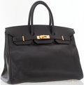Luxury Accessories:Bags, Hermes 35cm Black Epsom Leather Birkin Bag with Gold Hardware. ...