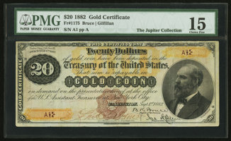Featured item image of Fr. 1175 $20 1882 Gold Certificate PMG Choice Fine 15.  ...