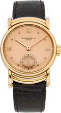 Timepieces:Wristwatch, Patek Philippe Rare Rose Gold Vintage Wristwatch With Ribbed HoodedLugs, circa 1948. ...
