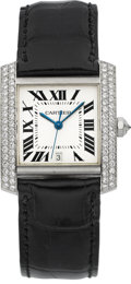Timepieces:Wristwatch, Cartier Very Fine 18k White Gold and Diamond Gent's Automatic TankFrancaise. ...