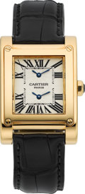 Timepieces:Wristwatch, Cartier Gold Tank A Vis Ref. 2594 Two Time Zone Wristwatch. ...