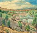 Western:20th Century, CHARLES H. REYNOLDS (American, 1902-1963). Taos Landscape.Oil on canvas. 36 x 40 inches (91.4 x 101.6 cm). Signed lower...
