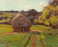 WILLIAM WENDT (American, 1865-1946) Haystacks Oil on canvas 16 x 20 inches (40.6 x 50.8 cm) Si