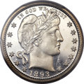 Proof Barber Quarters, 1893 25C PR66 Cameo PCGS. CAC....