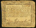 Colonial Notes:Maryland, Maryland December 7, 1775 $2/3 Very Good.. ...