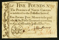 Colonial Notes:North Carolina, North Carolina December, 1771 £5 Very Fine+.. ...