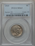 Buffalo Nickels: , 1915 5C MS63 PCGS. PCGS Population (312/1416). NGC Census:(211/864). Mintage: 20,987,270. Numismedia Wsl. Price for proble...