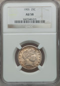 Barber Quarters: , 1905 25C AU58 NGC. NGC Census: (17/109). PCGS Population (22/124).Mintage: 4,968,250. Numismedia Wsl. Price for problem fr...