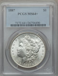 Morgan Dollars: , 1887 $1 MS64+ PCGS. PCGS Population (55233/16347). NGC Census:(77038/29491). Mintage: 20,290,710. Numismedia Wsl. Price fo...
