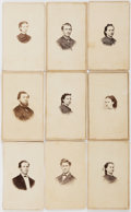 Books:Photography, [Cartes de Visite, Photography]. Group of Nine CDV. Ca. late 19th century. Light toning and occasional abrading to edges. Ve...