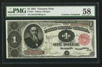 Fr. 351 $1 1891 Treasury Note Courtesy Autograph PMG Choice About Uncirculated 58