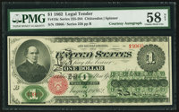 Fr. 16c $1 1862 Legal Tender Courtesy Autograph PMG Choice About Uncirculated 58 Net