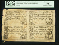 South Carolina April 10, 1778 Complete Sheet Of Four PCGS Apparent Choice About New 55