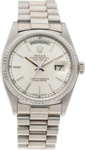 Timepieces:Wristwatch, No Shipping into the U.S. - Rolex Ref 18000 18k White Gold OysterPerpetual Day Date, circa 1981. ...