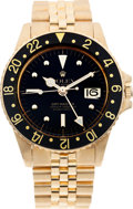 Timepieces:Wristwatch, No Shipping into the US - Rolex Ref. 1675 18k Gold GMT Master, circa 1991. ...