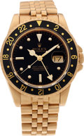 Timepieces:Wristwatch, No Shipping into the U.S. - Rolex Ref. 16758 18k Gold GMT Master, circa 1986. ...