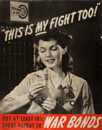 [WORLD WAR II]. This is My Fight Too. WWII War Bonds poster. GPO: 1942. Approximately 28 by 22