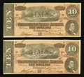 Confederate Notes:1864 Issues, T68 $10 1864 PF-44 Cr. 552 Two Consecutive Examples.. ... (Total: 2 notes)