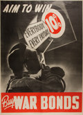 Military & Patriotic:WWII, [World War II]. Aim to Win. WWII War Bonds poster. GPO: 1942. Approximately 30.5 by 22 inches. Three creases. V...