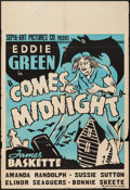 """Movie Posters:Black Films, Comes Midnight (Sepia Art Pictures Company, 1940). One Sheet (28"""" X41""""). Black Films.. ..."""