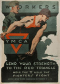 Military & Patriotic:WWI, Gil Spear [artist]. YMCA WWI propaganda poster. Approximately 27.5by 20 inches. Tears and soiling to the edges, else very g...