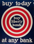Military & Patriotic:WWI, S. L. Bush. Buy Liberty Bonds. WWI poster. Approximately28.5 by 22 inches. A little tattered and torn at edges,...