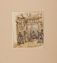 George Cruikshank. SIGNED ORIGINAL PEN, INK AND WATERCOLOR DRAWING. Approximately 3.25 by 3.5 inches. Tear to edge an
