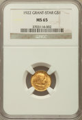 Commemorative Gold: , 1922 G$1 Grant With Star MS65 NGC. NGC Census: (326/456). PCGSPopulation (511/826). Mintage: 5,016. Numismedia Wsl. Price ...