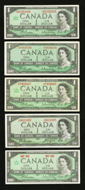Canadian Currency: , 1954 Devil's Face, 1967 Centennial Replacement $1 and More.. ...(Total: 5 notes)