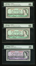 Canadian Currency: , BC-37c $1 1954 Two Consecutive Examples. BC-40b $10 1954.. ...(Total: 3 notes)