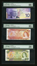 Canadian Currency: , BC-47b $2 1974. BC-50b $20 1969. BC-63a $10 2001.. ... (Total: 3notes)