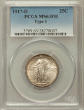 Standing Liberty Quarters: , 1917-D 25C Type One MS63 Full Head PCGS. PCGS Population (270/877).NGC Census: (190/608). Mintage: 1,509,200. Numismedia W...
