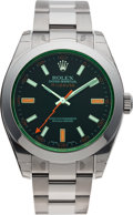 Timepieces:Wristwatch, No Shipping into the U.S. - Rolex Ref. 11640 Steel Oyster Perpetual Green Milgauss, circa 2007. ...