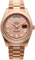 Timepieces:Wristwatch, No Shipping into the U.S. - Rolex 218235 Rose Gold Day-Date II With Diamond Dial. ...