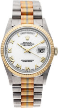 Timepieces:Wristwatch, No Shipping into the U.S. - Rolex Ref. 18239 Gold Tri-Color Day-Date Wristwatch, circa 1999. ...