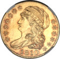 Early Half Eagles, 1810 $5 Large Date, Large 5 MS63 NGC. BD-4, R.2....
