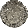 Colonials, 1776 $1 Continental Dollar, CURRENCY, Pewter -- EnvironmentalDamage -- NGC Details. XF. Newman 2-C, W-8455, R.3....