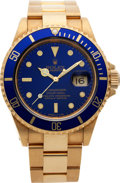 Timepieces:Wristwatch, No Shipping into the U.S. - Rolex Ref. 16618 Gent's Gold SubmarinerWristwatch, circa 1991. ...