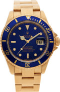 Timepieces:Wristwatch, No Shipping into the U.S. - Rolex Ref. 16618 Gent's Gold SubmarinerWristwatch, circa 1992. ...
