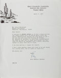 Autographs:Authors, Erle Stanley Gardner, American Mystery Writer. Typed Letter Signed.Smoothed creases with a touch of ruffling. Near fine....