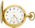 Timepieces:Pocket (post 1900), Zenith Rare 18k Gold Carillon Grande Sonnerie Minute RepeatingClockwatch, circa 1910. ...
