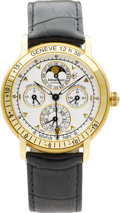 "Timepieces:Wristwatch, Audemars Piguet Equation of Time Geneve ""Jules Audemars"" Very Fine Astronomic Yellow Gold Watch With Perpetual Calendar, Moon ..."
