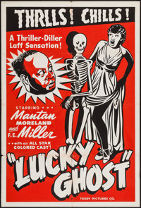 """Lucky Ghost (Toddy Pictures, R-1948). One Sheet (28"""" X 41"""") AKA Lady Luck. Black Films"""
